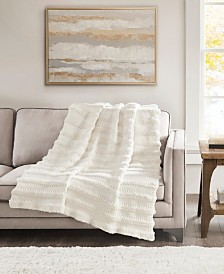 """Madison Park Nora 50"""" x 60"""" Chenille and Faux Fur Throw"""