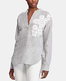 Floral-Lace Appliqué Long-Sleeve Top