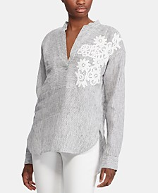 Lauren Ralph Lauren Floral-Lace Appliqué Long-Sleeve Top