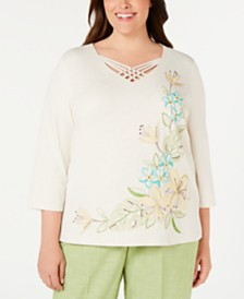Alfred Dunner Plus Size Coastal Drive Embroidered Lattice-Neck Top