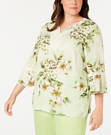 Alfred Dunner Plus Size Coastal Drive Printed Lace-Trim Top