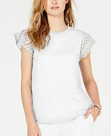 MICHAEL Michael Kors Cotton Lace-Sleeve T-Shirt