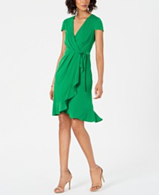 Jessica Howard Ruffled Faux-Wrap Dress