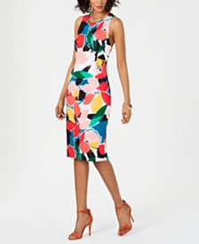 Donna Ricco Printed Crisscross-Back Sheath