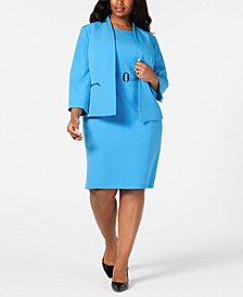 Plus Size Open-Front Jacket & Belted Sheath Dress