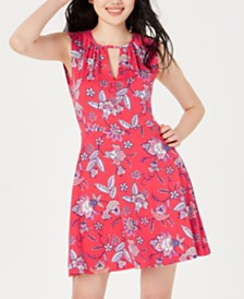 Be Bop Juniors' Printed Keyhole A-Line Dress
