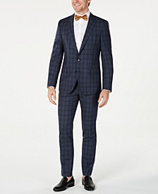 HUGO Hugo Boss Men's Slim-Fit Blue Glen Plaid Suit Separates