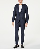 1907ee993 HUGO Hugo Boss Men's Slim-Fit Blue Glen Plaid Suit Separates