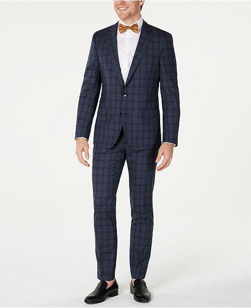 Hugo Boss HUGO Hugo Boss Men's Slim-Fit Blue Glen Plaid Suit Separates