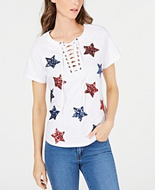 INC Cotton Sequin Star Lace-Up T-Shirt, Created for Macy's