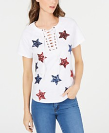 I.N.C. Cotton Sequin Star Lace-Up T-Shirt, Created for Macy's