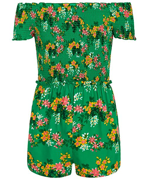 Epic Threads Big Girls Floral-Print Smocked Romper, Created for Macy's