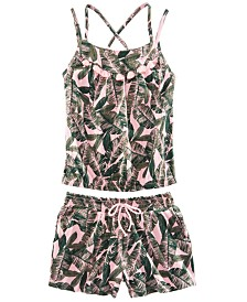Epic Threads Big Girls 2-Pc. Leaf-Print Tank Top & Shorts Set, Created for Macy's