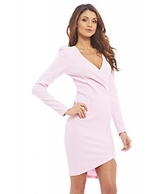 AX Paris Wrap Front Long Sleeved Dress