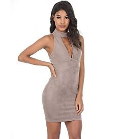 AX Paris Faux Suede High Neck Bodycon Mini Dress