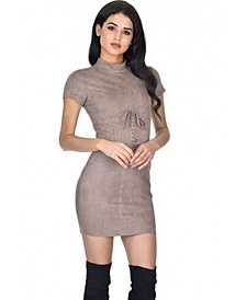 Faux Suede Mini Dress