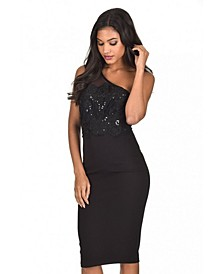 One Shoulder Sequin Embroidered Bodycon Dress
