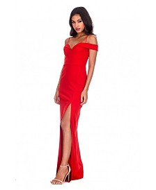 AX Paris Strappy Off the Shoulder Side Split Maxi Dress