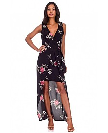AX Paris Floral V-Neck Wrap Skirt Dress