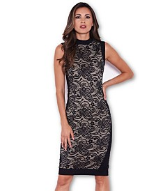 AX Paris Fitted Lace Midi Dress with High Neck