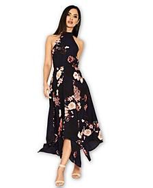 Floral Print Choker Midi Dress
