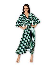 Striped Wrap Over Dress
