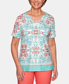 Alfred Dunner Coastal Drive Mosaic-Print Studded Top