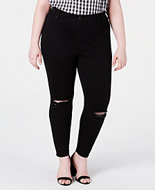 Celebrity Pink Petite Plus Size High-Rise Distressed Skinny Ankle Jeans