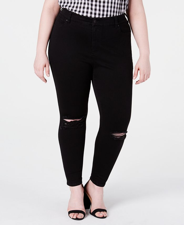 Celebrity Pink - Trendy Plus Size High-Rise Distressed Skinny Ankle Jeans