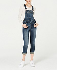 Juniors' Skinny Cropped Overalls