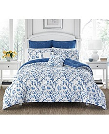 Elise China Blue Duvet Set, Full/Queen
