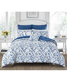 Laura Ashley Elise China Blue Duvet Set, Full/Queen