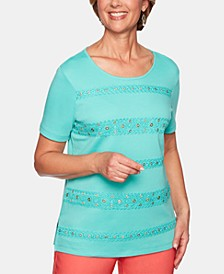 Petite Coastal Drive Embellished-Striped Top