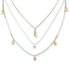 "RACHEL Rachel Roy Gold-Tone Crystal, Bead & Sea-Motif Charm Layered Necklace, 16"" + 2"" extender"