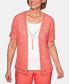 Coastal Drive Lace Open-Front Cotton Cardigan