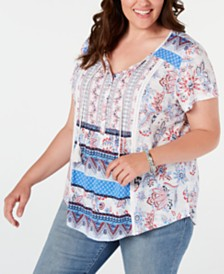 Style & Co Plus Size Printed Crochet-Trim Top, Created for Macy's