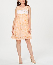 Petite Printed Crochet-Trim Shift Dress