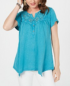 Petite Cotton Embroidered Handkerchief-Hem Top, Created for Macy's