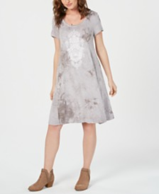 Style & Co Tie-Dyed Graphic T-Shirt Dress, Created for Macy's