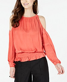 Petite Smocked Cold-Shoulder Top, Created for Macy's