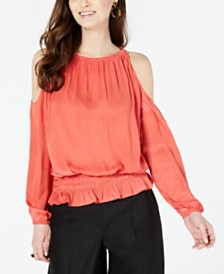 Alfani Petite Smocked Cold-Shoulder Top, Created for Macy's