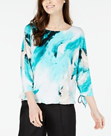 Alfani Printed Ruched-Sleeve Bubble Top, Created for Macy's