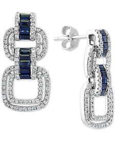 EFFY® Sapphire (7/8 ct. t.w.) & Diamond (3/4 ct. t.w.) Drop Earrings in 14k White Gold