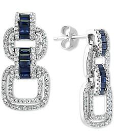 EFFY® Sapphire (7/8 ct. t.w.) & Diamond (3/4 ct. t.w.) Drop Earrings in 14k White Gold