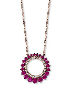 "EFFY® Certified Ruby (3/4 ct. t.w.) & Diamond (1/10 ct. t.w.) 18"" Pendant Necklace in 14k Rose Gold"