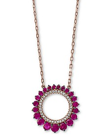 """EFFY® Certified Ruby (3/4 ct. t.w.) & Diamond (1/10 ct. t.w.) 18"""" Pendant Necklace in 14k Rose Gold"""