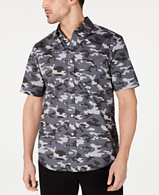 Club Room Men's Stretch Camo-Print Shirt, Created for Macy's