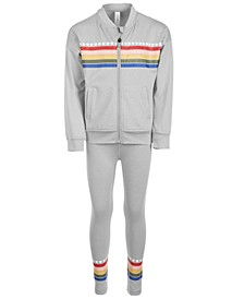 Little Girls Rainbow Striped Bomber Jacket & Leggings Separates, Created for Macy's