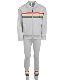 Ideology Little Girls Rainbow Striped Bomber Jacket & Leggings Separates, Created for Macy's
