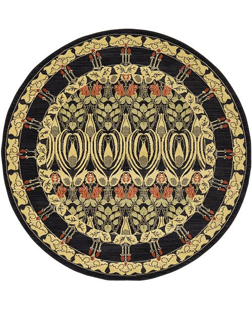 Bridgeport Home Orwyn Orw3 Black 6' x 6' Round Area Rug